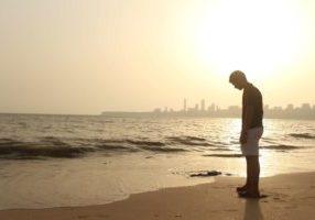 thinking on a beach